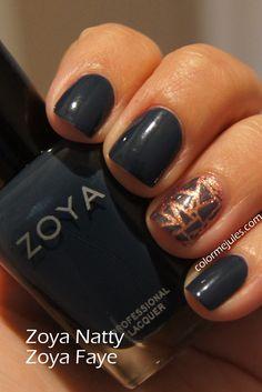 Zoya Natty with Zoya Faye accent - www.colormejules.com