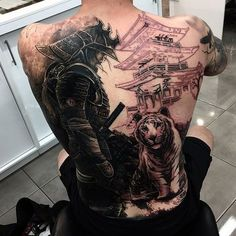 Black Ink Samurai With Tiger Tattoo On Man Full Back