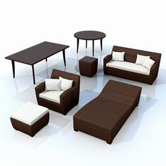 synthetic garden furniture 3d model 3d model