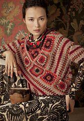 Ravelry: #29 Diagonal Top $ pattern by Mari Lynn Patrick - Vogue Knitting Crochet, 2012 - beige/orange crochet sweater w/ granny squares & stripes