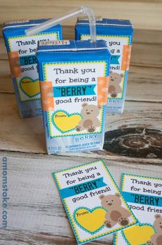 Berry Juice Box Valentine - would be a great kid's treat idea for a Valentine's Day party at school