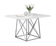 """DINING TABLE - 36""""X 48"""" WHITE GLOSSY CHROME METAL"""