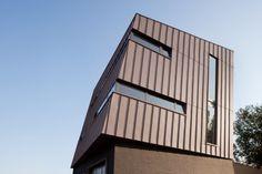 AAEG Architectural firm in Liège (Belgium) by Atelier d'architecture Grandmaison, Contractor: Orlando, Copyright : P. Kozlowski  #Architecture #OfficeBuilding #Zinc #VMZINC #Belgium #Façade #PIGMENTO Red #StandingSeam