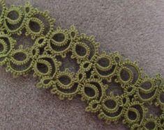 "Handmade, shuttle tatted lace bracelet, ""Figure Eight"" in olive green"