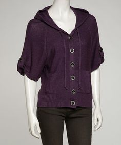Take a look at this Purple Hooded Cardigan - Women & Plus by VICE VERSA on #zulily today!