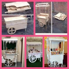 Hand made candy carts. Buyer is responsible for any extra charges, ie import tax etc. Food Cart Design, Instalation Art, Sweet Carts, Ice Cream Cart, Candy Cart, Flower Cart, Fairy Birthday Party, Wedding Candy, Diy Food