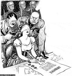 Caricature britannique critiquant la signature de l'armistice (Marianne, enchainée et aveuglée, signe le document sous la pression d'Hitler et de Mussolini).