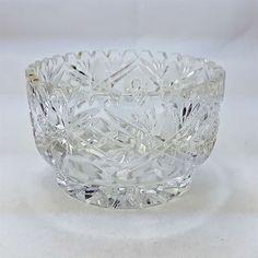 "Cut Lead Crystal Bowl Diamonds Stars 5.5"" Starburst Thick Base Decor 2.75 lbs"