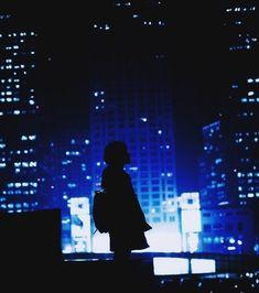 Blue / Girl / Alone / Building / Lights / Aesthetic