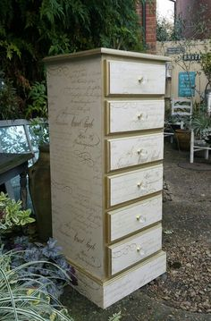 Wallpaper decoupaged tallboy with script print and gold gilding wax detailing, by Imperfectly Perfect xx