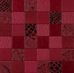 Mosaic Fauna SCARLET NappaTile™ Faux Leather Wall Tiles by Concertex