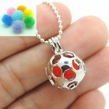 Brass Football Locket Necklace Perfume Essential Oil Aromatherapy Diffuser Charm
