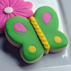 Butterfly cookies covered in fondant
