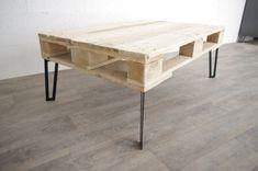 Table basse style industriel palette et pieds inspiration hairpin legs