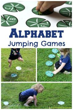 Alphabet jumping games inspired by The Giant Jumperee by Julia Donaldson Summer Activities For Toddlers, Kids Learning Activities, Motor Activities, Hands On Activities, Toddler Activities, Teaching Kids, Frogs Preschool, Preschool Activities, Reading Games For Kids