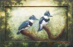 King fisher painted on salvaged panel.