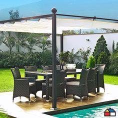 Juego #comedor de aluminio con ratán PE 9 piezas #terraza #jardin