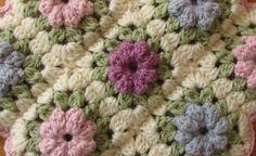EASY crochet pretty puff stitch flower blanket - flower granny square tutorial - YouTube