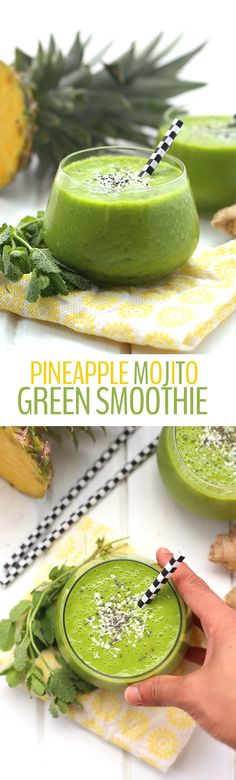 A tropical twist on a classic mojito, this Pineapple Mojito Green Smoothie is packed full of fresh fruits and veggies with a refreshing mint flavor. Youre going to want to start everyday with this healthy smoothie recipe! click now for more info. Healthy Green Smoothies, Green Smoothie Recipes, Yummy Smoothies, Juice Smoothie, Smoothie Drinks, Yummy Drinks, Healthy Drinks, Healthy Eating, Juice Recipes