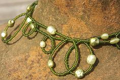 Green Seed Bead Necklace PEARLS CURLS by KapKaJewelryDesign, $39.00-Very Cool!