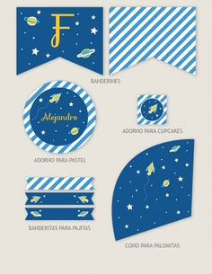 Colección de imprimibles Cohete para fiesta infantil