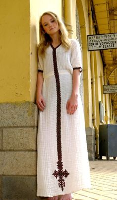 White traditional Ethiopian dress with Green  Red and Gold, cross embroidered motif
