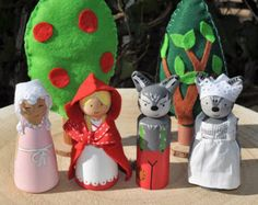 Little red riding hood - Little red riding hood Peg dolls, little Red Riding Hood – The little Red Rinding Hood-children's toys in wood-storybook – 9 cm Wood Peg Dolls, Clothespin Dolls, Spool Crafts, Felt Crafts, Easy Crafts For Kids, Craft Activities For Kids, Craft Ideas, Fairy Crafts, Clothes Pegs