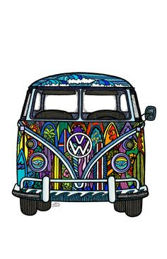 Volkswagen VW Camper Surf Van Art Print with surfboards