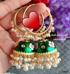Gold Hoop Earrings, Gold Hoops, Stud Earrings, Indian Earrings, Hand Painted, Pearls, Christmas Ornaments, Crystals, Holiday Decor