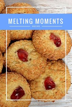 Melting Moments are easy to make and yummy to eat! Simple buttery biscuits, coated in coconut and topped with a gem-like cherry. Biscuit Recipes Uk, Baking Recipes, Cookie Recipes, Dessert Recipes, Desserts, Simple Biscuit Recipe, Baking Ideas, Coconut Biscuits, Buttery Biscuits