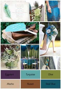 The perfect peacock wedding colors.