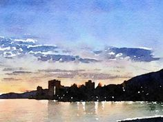 West Vancouver Skyline - Limited Edition 1 of 100 Vancouver Skyline, Skyline Art, New Media, Watercolours, Fine Art Paper, Saatchi Art, Clouds, Art Prints