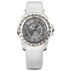 Mini Radiant Time Collection; Watch, Steel Case with Sunray Dial and White Leather Strap