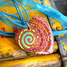 Healing Heart Swirl Pendant on Turquoise Ribbon Necklace by purplecactusstudios,