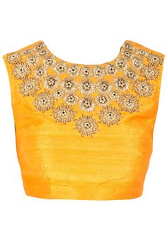Description Featuring a stone colour polka and zigzag panelled lehenga with mango colour triangle border and tassels on drawstring. It comes along with mango lisa style embroidered choli and beige net dupatta with embroidered navy border. Saree Blouse Patterns, Saree Blouse Designs, Blouse Styles, Indian Dresses, Indian Outfits, Indian Clothes, Indian Attire, Indian Wear, Saree Jackets