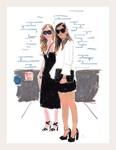 Chiara Ferragni & Rumi Neely | Snap Sketch by Damien Florébert Cuypers for T Magazine