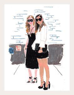 Chiara Ferragni & Rumi Neely | Snap Sketch by Damien Florébert Cuypers for T Magazine