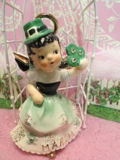 Vtg Lefton March Irish Birthday Angel Girl W Shamrock Leprechaun Hat & Halo