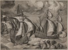 After Pieter Bruegel I (the Elder); engraved by Frans Huys, Three Warships in a Tempest, with Arion on the Dolphin from Sailing Ships, c. 1565