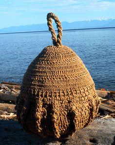 """Neptune's Crown Synet II"" Crocheted, tarred hemp x x 2002 Dale Roberts, Crochet Art, Hemp, Straw Bag, Crown, Fine Art, Bags, Fashion, Handbags"