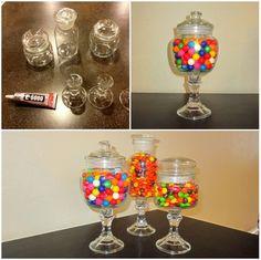 Jars, candlesticks, and e-6000 glue ( $6 @ hobby lobby)
