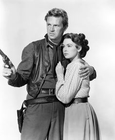 "Sterling Hayden & Barbara Rush in 1952 Western Movie ""Flaming Feather""."