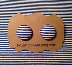 Navy Stripe Fabric Button Earrings by TwoLittleBoats on Etsy