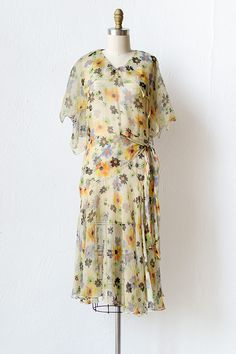 vintage 1930s yellow sheer floral dress | A Summer Melody Dress