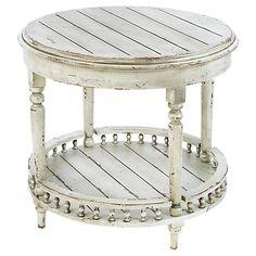 Emma 2-Shelf Side Table, Antiqued White $545.00