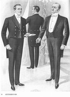 The butler wears a particular horizontal stripe vest as a distinction from the class he serves.
