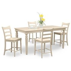 Carnival White II 5 Pc Counter Height Dinette VCF Dining Room Tables CarnivalsFurniture