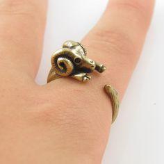 Gold Ram Animal Wrap Ring $25