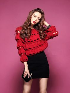 Morpheus Boutique  - Red Knit Hollow Out Trendy Sweater
