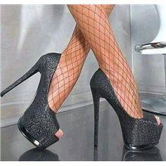 ファッションセクシーシャイニングピープトウのプラットフォームハイヒールプロムの靴